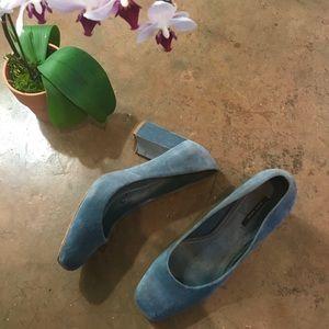 Blue suede Zara heels